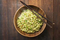 Delicious dried noodles top view Royalty Free Stock Photo