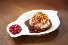 Delicious duck breast dish with rice and chutney Stock Images