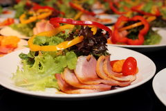 Delicious duck salad  in close up Stock Image