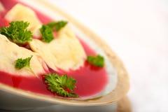 Delicious dumplings in borsch Royalty Free Stock Image
