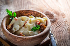 Delicious dumplings with mushrroms and onion Royalty Free Stock Photography