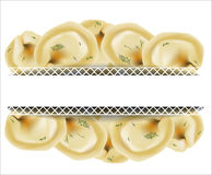 Delicious dumplings. Russian dumplings. Italian ravioli. Royalty Free Stock Photography