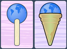 Delicious earth. Illustration of ice cream and lollipop to say delicious earth Royalty Free Stock Photo