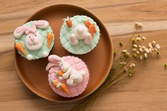 Delicious Easter cupcakes stock photography