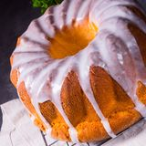 Delicious easter sand cake with white cake glaze. A delicious easter sand cake with white cake glaze stock photography