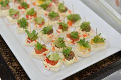 Delicious and easy finger food idea, Cocktail Favorite Food in Skewer. Royalty Free Stock Image