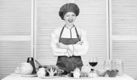Delicious and easy recipes. Best culinary recipes to try at home. Lady adorable chef teach culinary arts. Professional. Culinary tips. Culinary show concept royalty free stock images