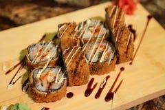 Delicious Ebi Tempura maki sushi rolls Royalty Free Stock Photo