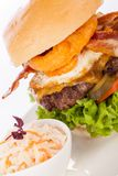 Delicious egg and bacon cheeseburger Royalty Free Stock Photography