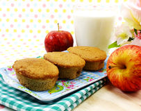 Delicious egg cake coffee flavor and red apple with milk Royalty Free Stock Photos