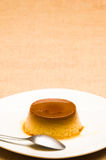 Delicious egg pudding. Egg pudding with delicious liquid caramel. Copy space text Royalty Free Stock Photography