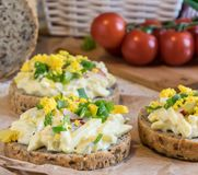 Egg spread on round fresh homemade bread, decorated with spring onion and crushed yolk Royalty Free Stock Image