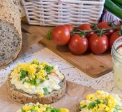 Egg spread on round fresh homemade bread, decorated with spring onion and crushed yolk Royalty Free Stock Photography