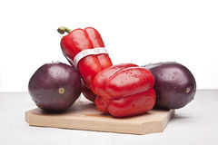 Delicious eggplants and peppers Royalty Free Stock Photos