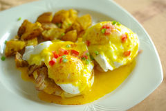 Delicious eggs benedict for breakfast royalty free stock image