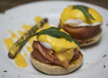 Delicious eggs benedict with smoked salmon and hollandaise sauce Royalty Free Stock Image