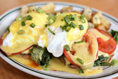 Delicious eggs florentine. For breakfast at a restaurant stock photos