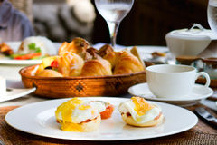 Delicious eggs served for breakfast Royalty Free Stock Images