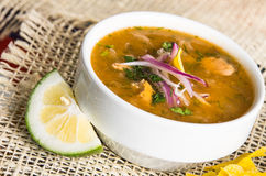 Delicious encebollado fish stew from Ecuador Stock Photo