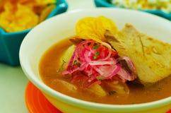Delicious encebollado fish stew from Ecuador traditional food national dish closeup Royalty Free Stock Photos
