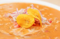Delicious encebollado fish stew with some chifles inside, traditional national food dish from Ecuador.  stock image