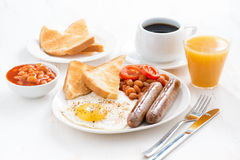 Delicious English breakfast with sausages Royalty Free Stock Images