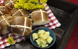 Delicious English Style Happy Easter Hot Cross Buns Stock Photo