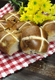 Delicious English style Happy Easter Hot Cross Buns - vertical Royalty Free Stock Images