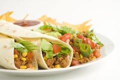 Delicious fajitas beef lettuce tomato pepper corn Royalty Free Stock Photo