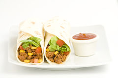 Delicious fajitas beef lettuce tomato pepper corn Stock Photos