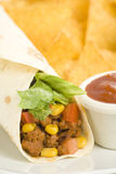 Delicious fajitas beef lettuce tomato pepper corn Royalty Free Stock Images