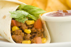 Delicious fajitas beef lettuce tomato pepper corn Stock Photography