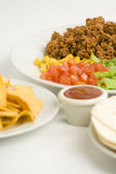 Delicious fajitas beef lettuce tomato pepper corn Royalty Free Stock Photo