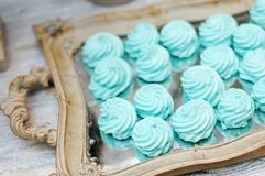Mint pastila on wooden tray Stock Photo