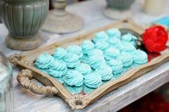 Delicious fancy mint pastila Stock Photo
