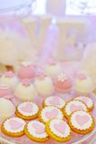 Delicious fancy pink cookies and biscuits Stock Photo