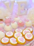 Delicious fancy pink cookies and biscuits Royalty Free Stock Photos