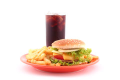 Delicious fast food. Fast food - french fries, burger and cola on white background royalty free stock photos