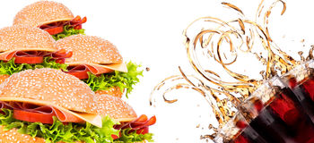 Delicious fast food with burger and cola Stock Photography