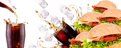 Delicious fast food with burger and cola Royalty Free Stock Photography