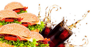 Delicious fast food with burger and cola Royalty Free Stock Photo
