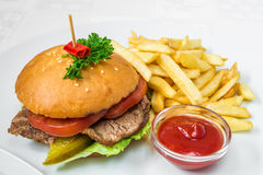 Delicious fast food. Burger with meat, cucumber and herbs, French fries and sauce. Horizontal frame. Delicious fast food. Burger with meat, cucumber and herbs Stock Photos