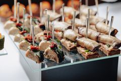 Delicious festive buffet with canapés and different delicious meals stock image