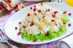 Delicious festive salad with chicken breast, corn, cheese, pineapple Stock Images