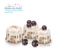 Delicious festive sweets and desserts for a party. Summer confectionary bakery treats Vector illustration Royalty Free Stock Images