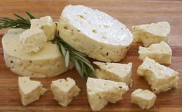 Delicious feta cheese with herbs Royalty Free Stock Images
