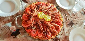 Delicious fideua of seafood, Mediterranean and traditional cuisine stock images