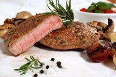 Delicious fillet steak white table Stock Photo