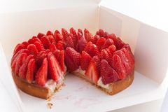 Delicious fine Strawberry cake in a white box Royalty Free Stock Photo