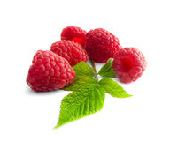 Delicious first class fresh raspberries isolated on white. Background Royalty Free Stock Image